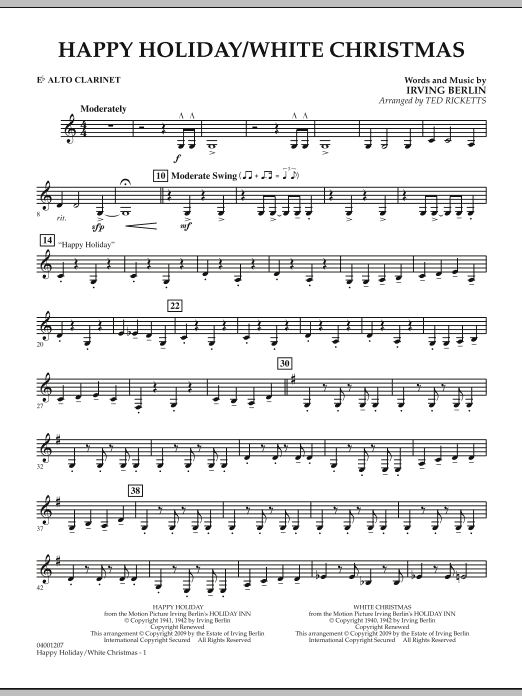 page one of Happy Holiday/White Christmas - Eb Alto ClarinetASALTTEXT