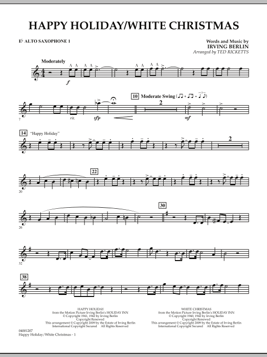Happy Holiday/White Christmas - Eb Alto Saxophone 1 (Concert Band)