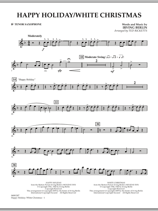 Happy Holiday/White Christmas - Bb Tenor Saxophone (Concert Band)