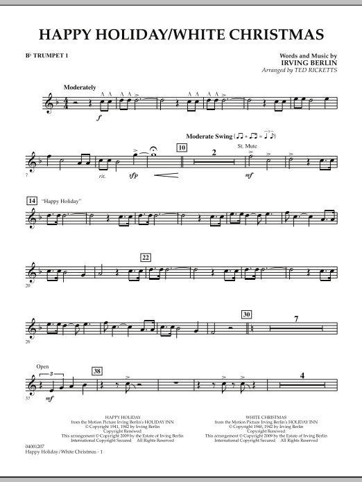 page one of Happy Holiday/White Christmas - Bb Trumpet 1ASALTTEXT