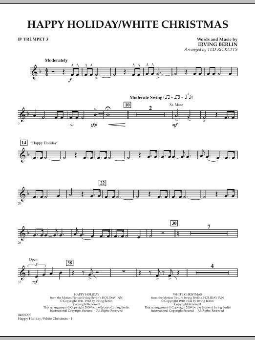 page one of Happy Holiday/White Christmas - Bb Trumpet 3ASALTTEXT