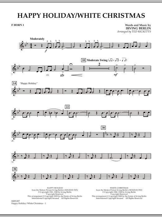 page one of Happy Holiday/White Christmas - F Horn 1ASALTTEXT