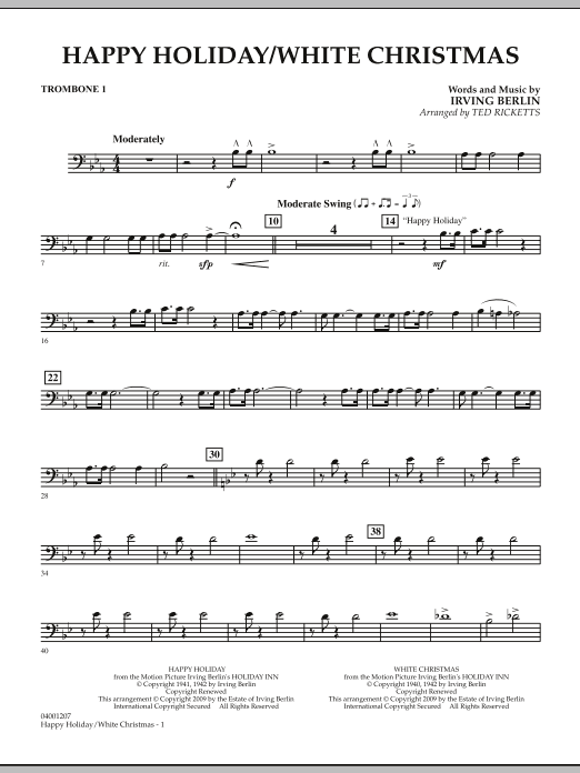 page one of Happy Holiday/White Christmas - Trombone 1ASALTTEXT