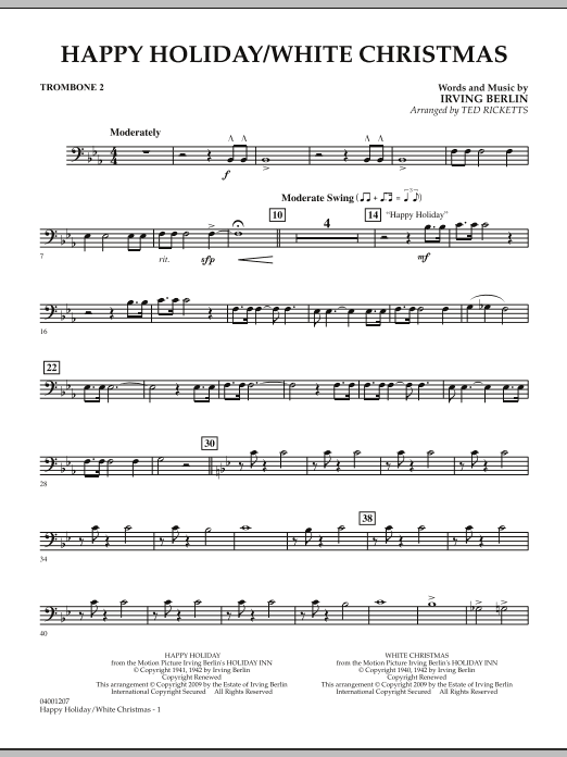 Happy Holiday/White Christmas - Trombone 2 (Concert Band)