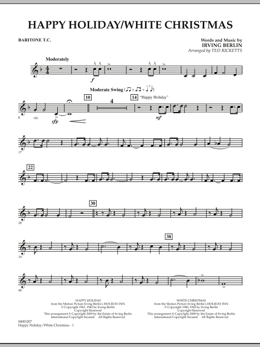 page one of Happy Holiday/White Christmas - Baritone T.C.ASALTTEXT