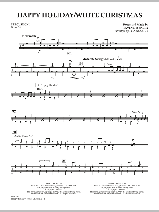 Happy Holiday/White Christmas - Percussion 1 (Concert Band)