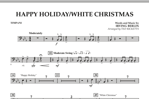 page one of Happy Holiday/White Christmas - TimpaniASALTTEXT