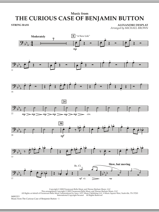Music from The Curious Case of Benjamin Button - String Bass (Concert Band)