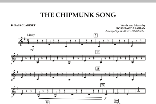 The Chipmunk Song - Bb Bass Clarinet (Concert Band)