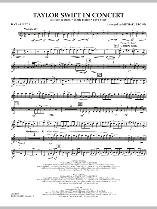 Taylor Swift - In Concert - Bb Clarinet 1 (Concert Band)