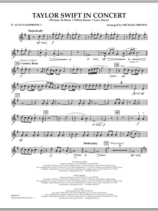Taylor Swift - In Concert - Eb Alto Saxophone 2 (Concert Band)