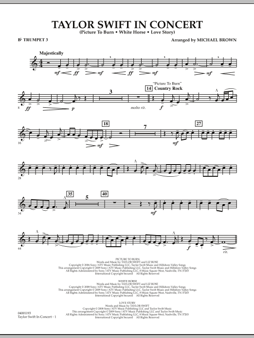 Taylor Swift - In Concert - Bb Trumpet 3 (Concert Band)