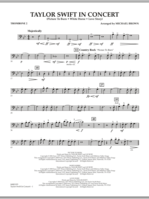 Taylor Swift - In Concert - Trombone 2 (Concert Band)