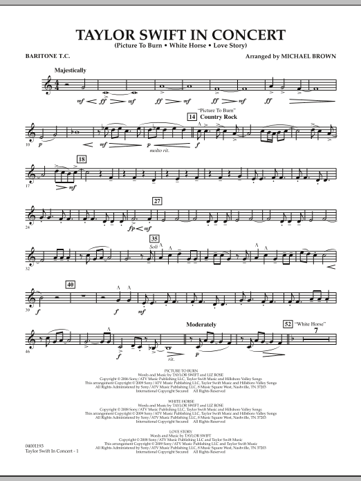 Taylor Swift - In Concert - Baritone T.C. (Concert Band)
