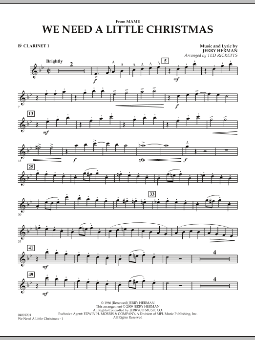 """We Need a Little Christmas (from """"Mame"""") - Bb Clarinet 1 (Concert Band)"""