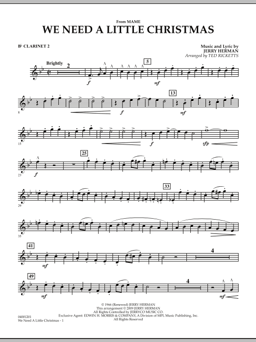 """We Need a Little Christmas (from """"Mame"""") - Bb Clarinet 2 (Concert Band)"""