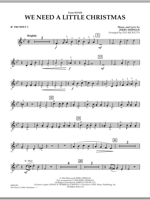 """We Need a Little Christmas (from """"Mame"""") - Bb Trumpet 3 (Concert Band)"""