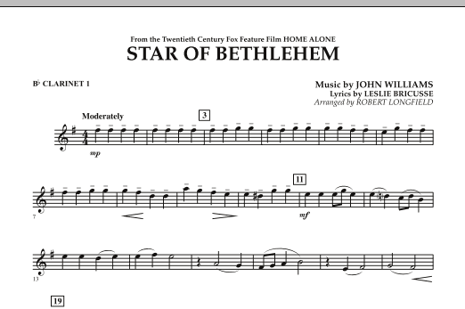 "The Star of Bethlehem (from ""Home Alone"") - Bb Clarinet 1 (Concert Band)"