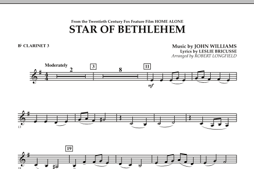 """The Star of Bethlehem (from """"Home Alone"""") - Bb Clarinet 3 (Concert Band)"""