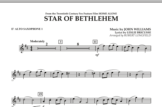 "The Star of Bethlehem (from ""Home Alone"") - Eb Alto Saxophone 1 (Concert Band)"