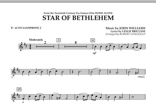 """The Star of Bethlehem (from """"Home Alone"""") - Eb Alto Saxophone 2 (Concert Band)"""