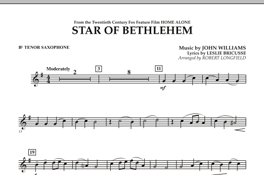 "The Star of Bethlehem (from ""Home Alone"") - Bb Tenor Saxophone (Concert Band)"
