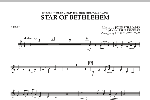 "The Star of Bethlehem (from ""Home Alone"") - F Horn (Concert Band)"