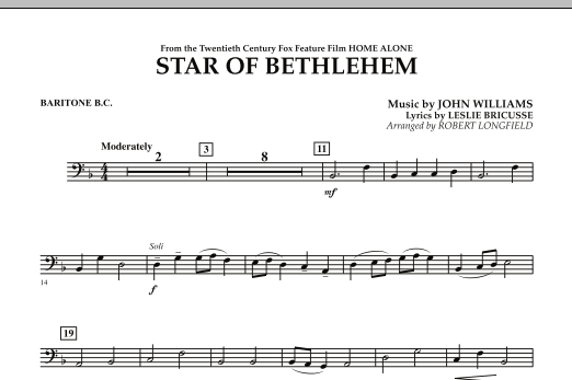 "The Star of Bethlehem (from ""Home Alone"") - Baritone B.C. (Concert Band)"