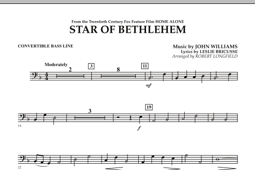 """The Star of Bethlehem (from """"Home Alone"""") - Convertible Bass Line (Concert Band)"""