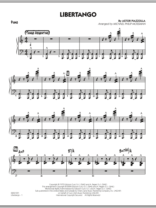 Libertango - Piano by Michael Philip Mossman Jazz Ensemble Digital Sheet  Music