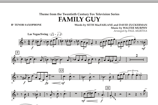 Theme from Family Guy - Bb Tenor Saxophone (Concert Band)