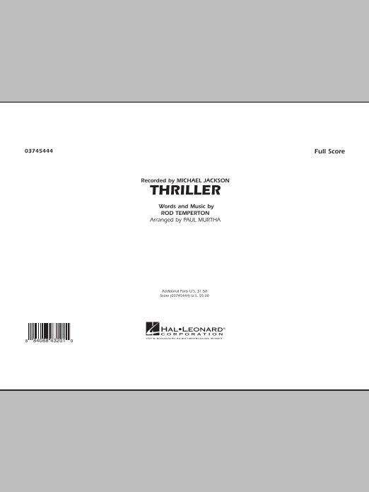 Thriller (COMPLETE) sheet music for marching band by Rod Temperton, Michael Jackson and Paul Murtha. Score Image Preview.