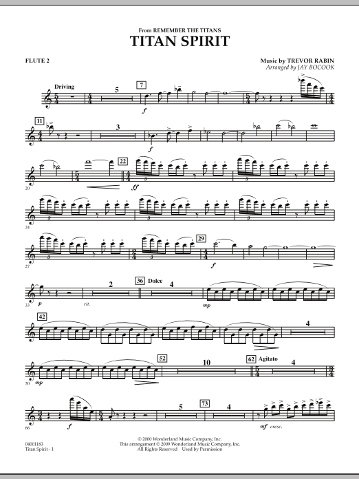 """Titan Spirit (Theme from """"Remember the Titans"""") - Flute 2 (Concert Band)"""