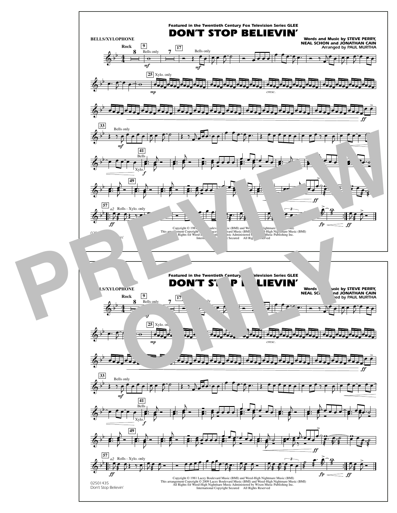 Dont Stop Believin Bellsxylophone Sheet Music To Download