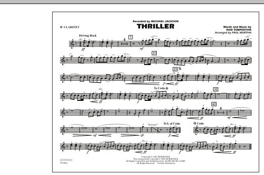 page one of Thriller - Bb ClarinetASALTTEXT