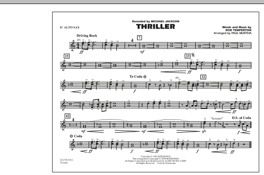 Thriller - Eb Alto Sax (Marching Band)