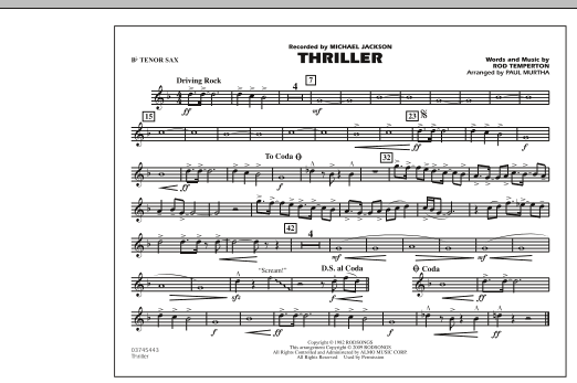 Thriller - Bb Tenor Sax (Marching Band)