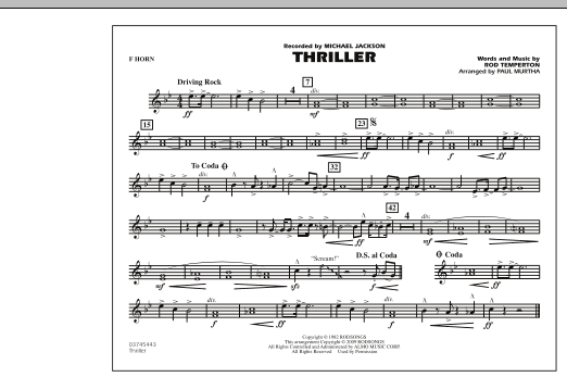 Thriller - F Horn (Marching Band)