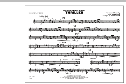 page one of Thriller - Bells/XylophoneASALTTEXT