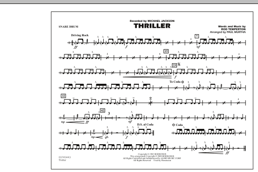 page one of Thriller - Snare DrumASALTTEXT
