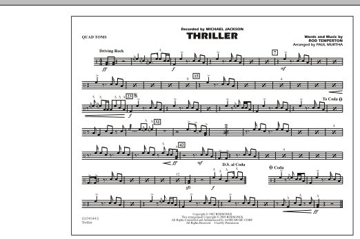 Thriller - Quad Toms - Sheet Music at Stanton's Sheet Music