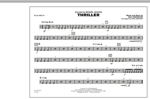 page one of Thriller - Bass DrumASALTTEXT