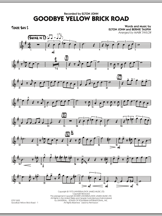 Goodbye Yellow Brick Road Tenor Sax 2 Sheet Music To Download