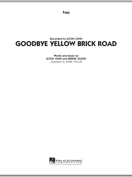 Goodbye Yellow Brick Road Piano Sheet Music To Download