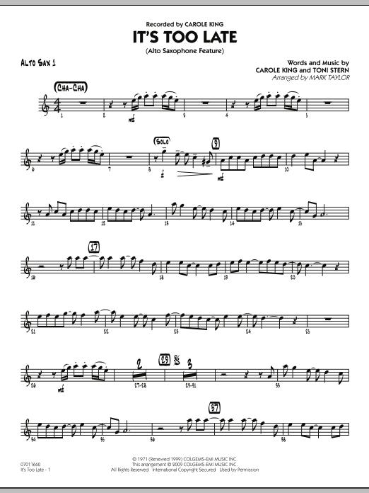 It's Too Late (Alto Saxophone Feature) - Alto Sax 1 (Jazz Ensemble)