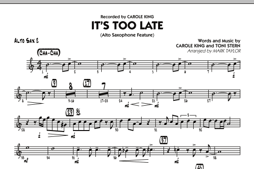It's Too Late (Alto Saxophone Feature) - Alto Sax 2 (Jazz Ensemble)