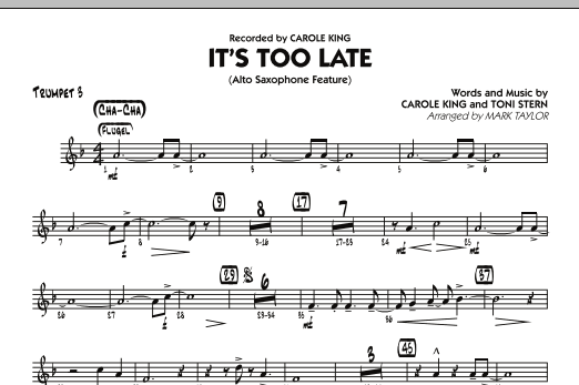 It's Too Late (Alto Saxophone Feature) - Trumpet 3 (Jazz Ensemble)
