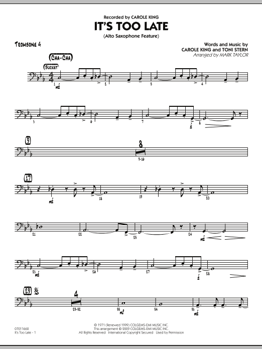 It's Too Late (Alto Saxophone Feature) - Trombone 4 (Jazz Ensemble)