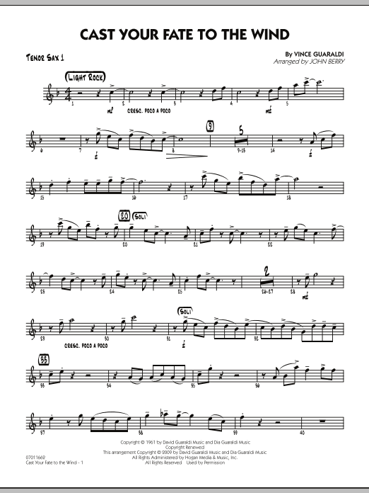 Cast Your Fate to the Wind - Tenor Sax 1 (Jazz Ensemble)