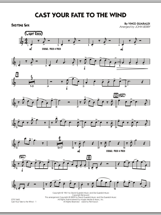 Cast Your Fate to the Wind - Baritone Sax (Jazz Ensemble)